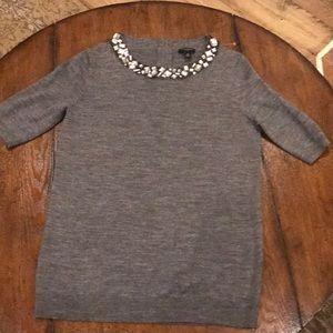 Ann Taylor grey jeweled collar sweater